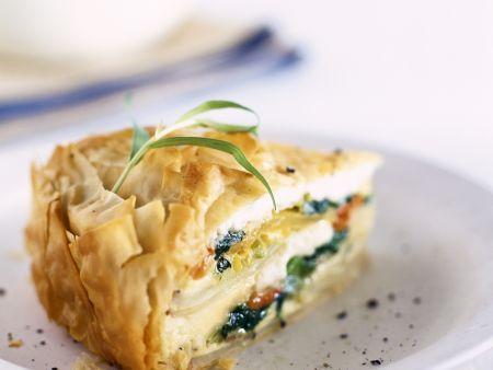 Pie mit Kartoffeln und Spinat