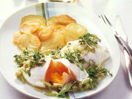 Pochierte Eier mit Kresse-Vinaigrette