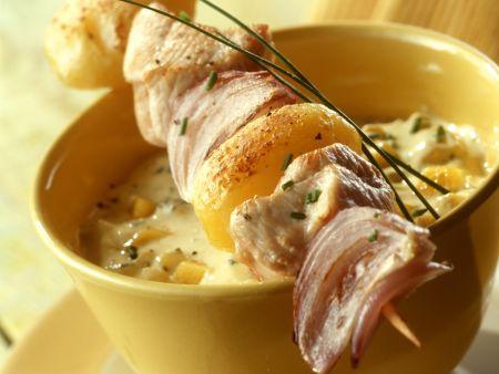 Puten-Kartoffel-Spieß mit Mangocreme
