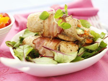 Putenrouladen mit Pancetta, Karotte und Zucchini