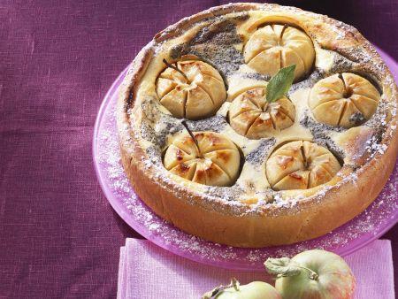 Quark-Mohnkuchen mit Äpfeln