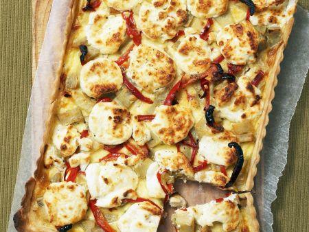 Quiche mit Süßkartoffeln und Ziegenkäse