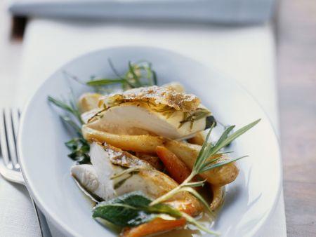 Raffiniert gefülltes Kräuterhähnchen mit gemischtem Gemüse