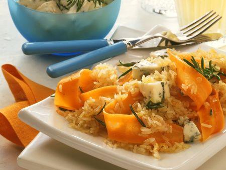 Reis mit Möhren und Käse
