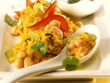 Reis mit Weißkohl und Kichererbsen