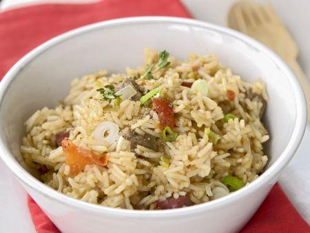Reispfanne auf kubanische Art