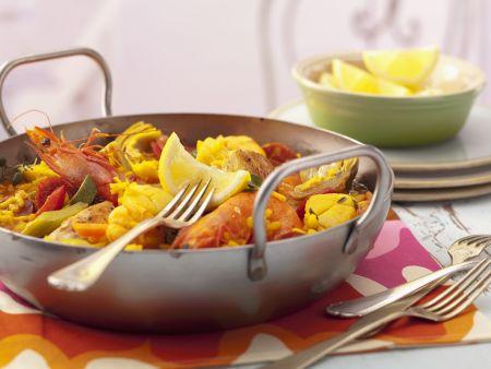 Reispfanne auf spanische Art (Paella)