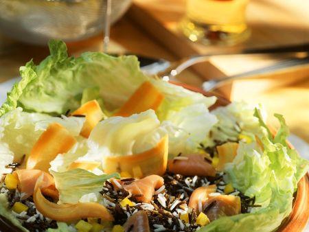 Reissalat mit Räucherlachs