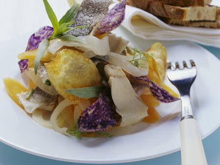 Renke in Marinade mit frittierten Kartoffelhobeln