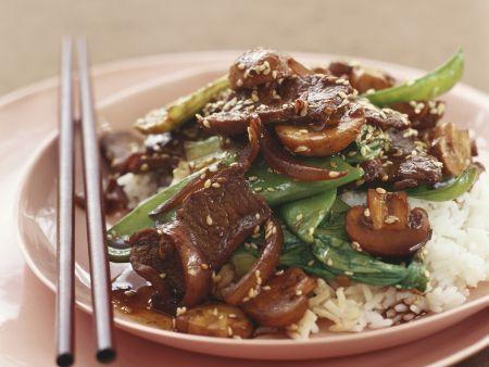 Rinder-Champignon-Pfanne mit Reis