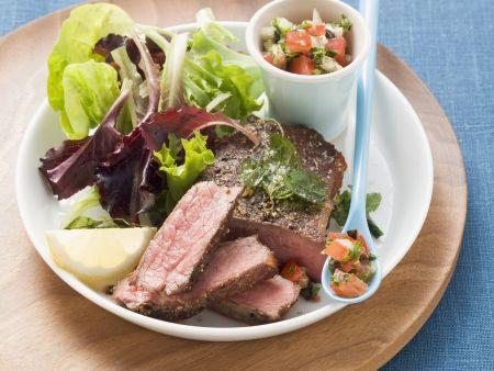 Rezept: Rindersteak mit Tomaten-Oliven-Salsa