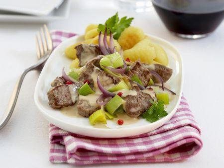 Rindfleisch-Lauch-Geschnetzeltes mit Gnocchi