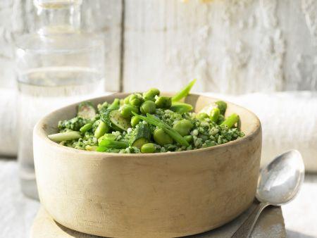 Risotto mit Ingwer und grünem Gemüse