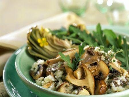 risotto mit pilzen und rucola rezept eat smarter. Black Bedroom Furniture Sets. Home Design Ideas