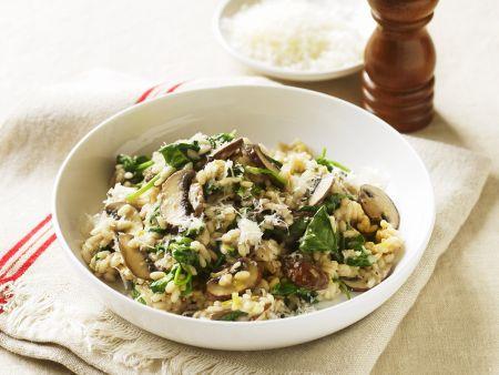 Risotto mit Spinat und Pilzen