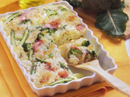 Risottogratin mit Brokkoli und Spargel