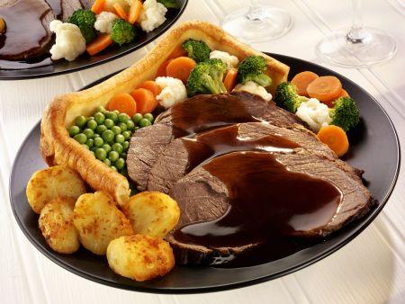Roastbeef auf englische Art mit Yorkshire Pudding