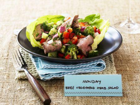 Gemüse-Rinder-Salat mit Kräutern