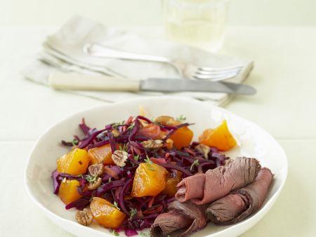Roastbeef mit Kaki-Rotkohl-Salat