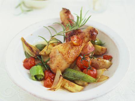 Rosmarinhähnchen mit Gemüse