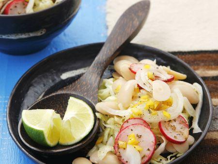 Salat mit Limabohnen, Weißkohl und Radieschen