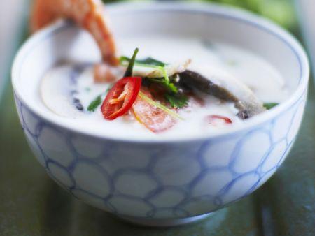 Scharfe Kokos-Scampi-Suppe nach Thai-Art