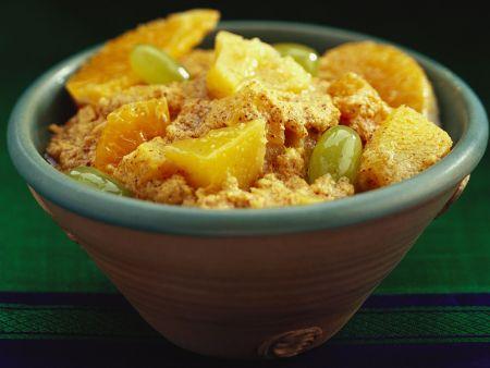 Scharfer Obstsalat mit Chilicreme