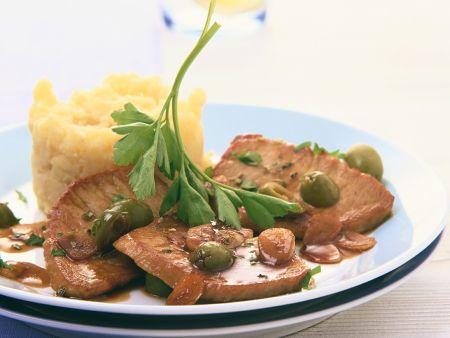 Schnitzel mit Olivensauce