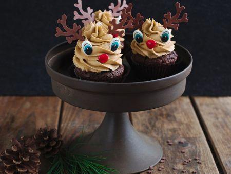 Schoko-Muffins im Rentierlook