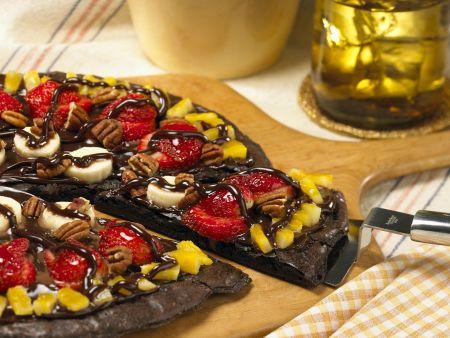 Schokoladenpizza mit Obst
