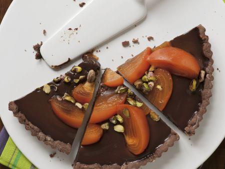 Schokoladentarte mit Sharonfrucht