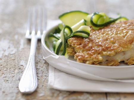 Seebarsch mit Haferflockenmantel und Zucchinigemüse