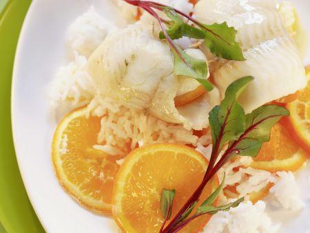 Seezungenfilet mit Apfelsinen und Reis
