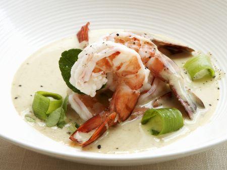 Shrimps-Curry mit Porree