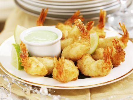 Shrimps in Pankopanande mit Wasabi-Creme