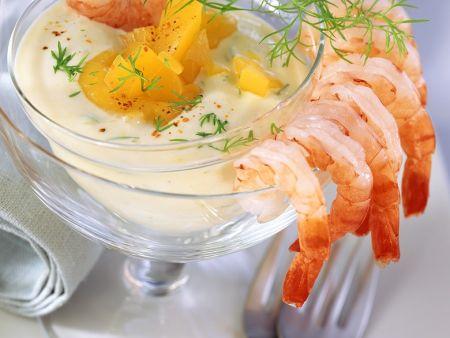 Shrimps mit Joghurtdip