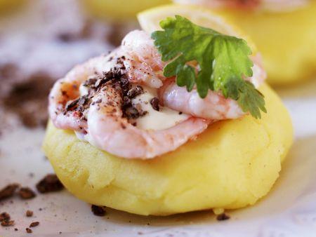 Shrimps mit Kartoffelbrei