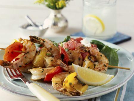 Shrimps-Paprika-Spieß vom Grill