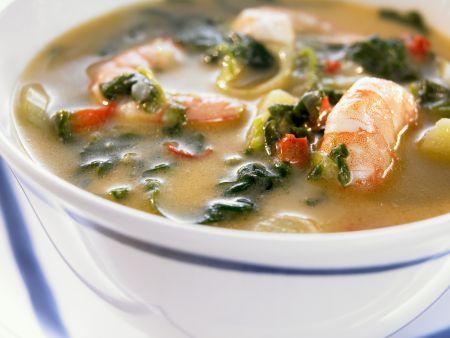 Shrimpssuppe auf kreolische Art