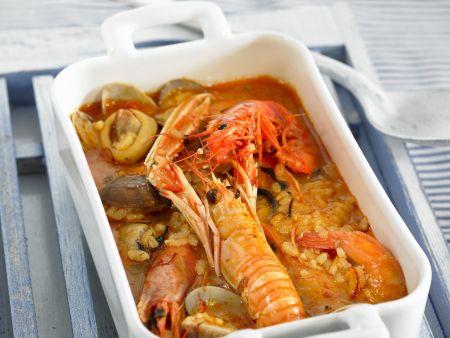 Spanische Reissuppe mit Scampi