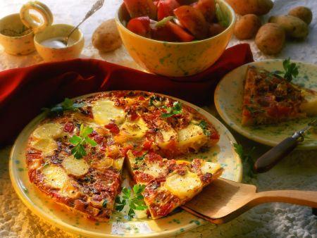 Spanische Tortilla mit Kartoffeln, Tomaten und Paprika