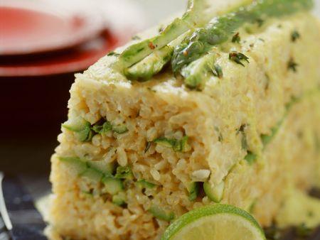 Spargelterrine mit Reis