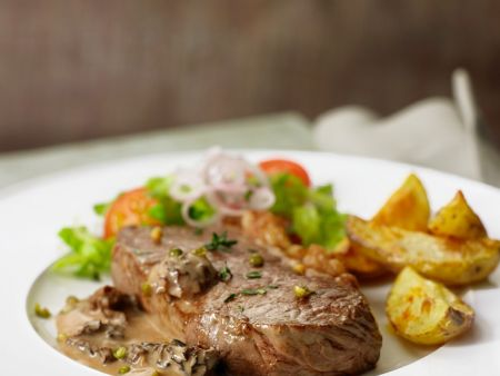 Steak mit Pilzrahmsauce