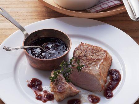 Steak vom Kalb mit Portweinsoße