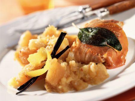 Steckrüben-Kartoffel-Püree mit Saltimbocca