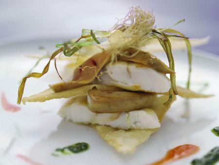 Steinbutt-Gänseleber-Türmchen (Lasagne)