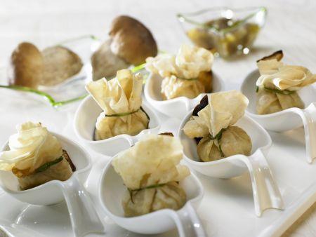 Steinpilzbeutelchen mit nussigem Pesto
