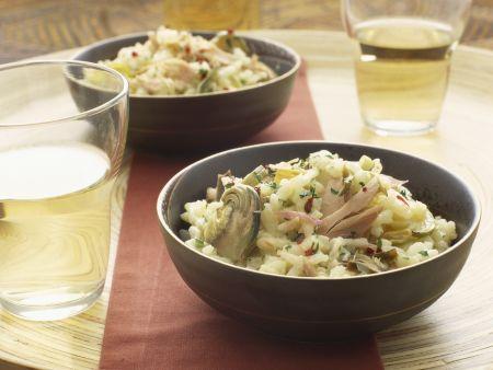 Thunfisch-Risotto mit Trauben