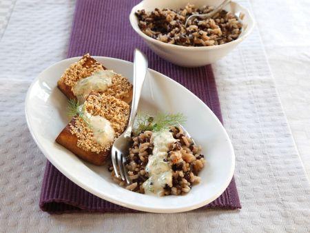 Tofu mit Reis und Linsen