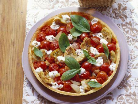 Tomaten-Mozzarella-Tarte mit Artischocken